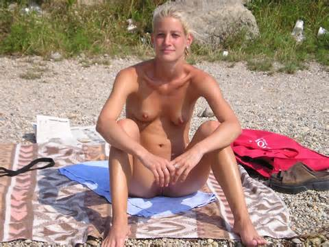 Pussy Lips Exposed Labia Beach Blonde Small Tits Voyeur