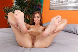 Spreads Her Pink Pussy And Gives A Hot Footjob From Foot Fetish Daily